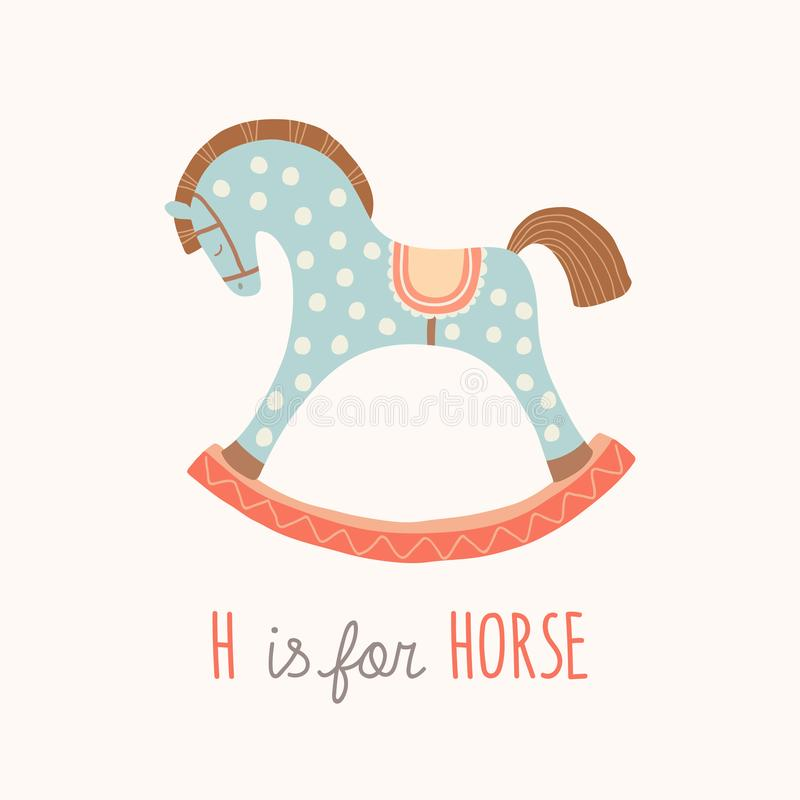 Free ABC Kids Wall Art. Toy Alphabet Card. Nursery Alphabet Poster Wall Art. Playroom Decor. H Is For Horse. Blue Rocking Stock Image - 134876691