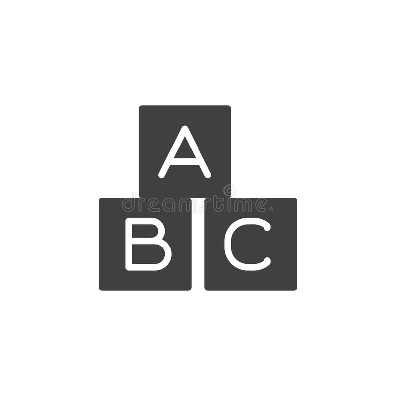 ABC kubeert pictogram vector, gevuld vlak teken, stevig die pictogram op wit wordt geïsoleerd stock illustratie