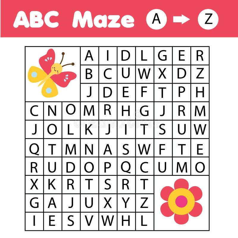 ABC-Labyrinthspiel: Tierthema Hilfsschmetterlings-Entdeckungsblume Tätigkeit für Kinder und Kinder, englisches Alphabet lernend stock abbildung