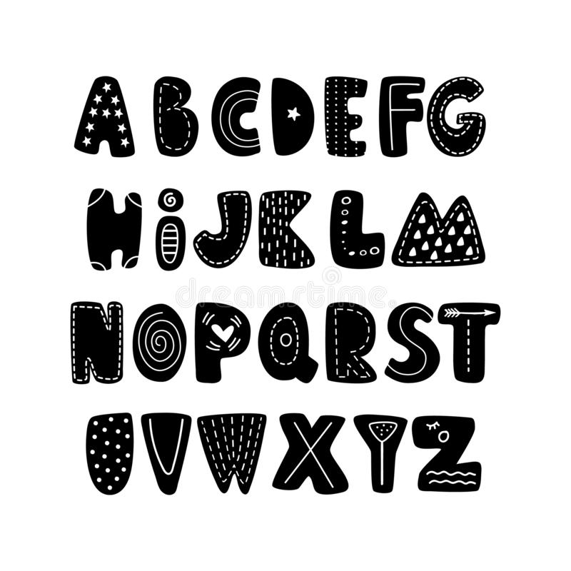 ABC - Latin alphabet. Unique hand drawn nursery poster with handdrawn letters in scandinavian style. Vector illustration royalty free illustration