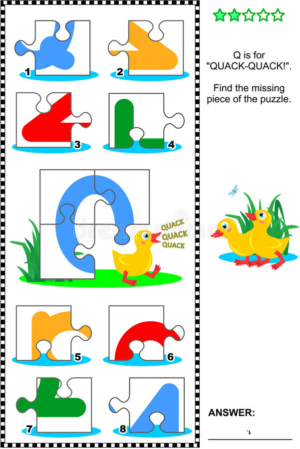 Free ABC Learning Educational Puzzle - Letter Q (quack-quack) Royalty Free Stock Photo - 69037165