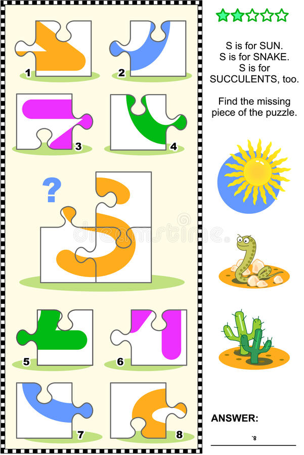 ABC learning educational puzzle - letter S (sun, snake, succulents) stock illustration