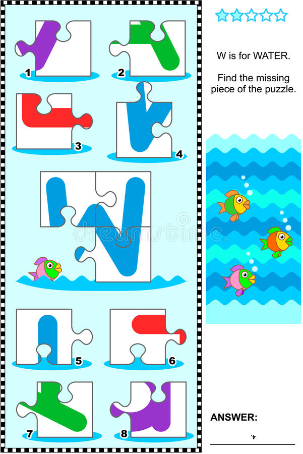 Download ABC Learning Educational Puzzle - Letter W (water) Stock Vector - Image: 69413626