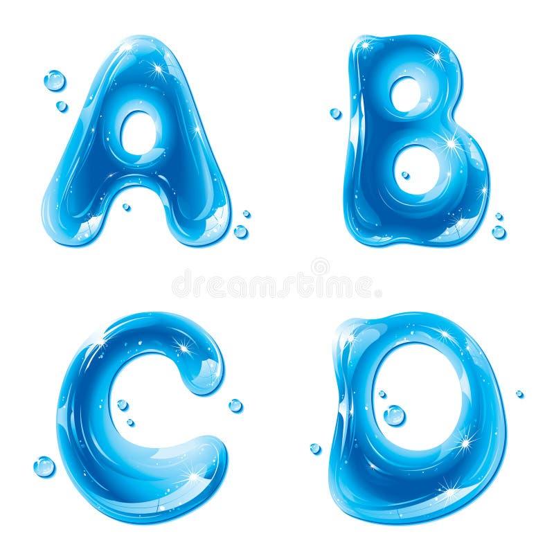 ABC - Letra líquida da água ajustada - capital A B C D ilustração stock