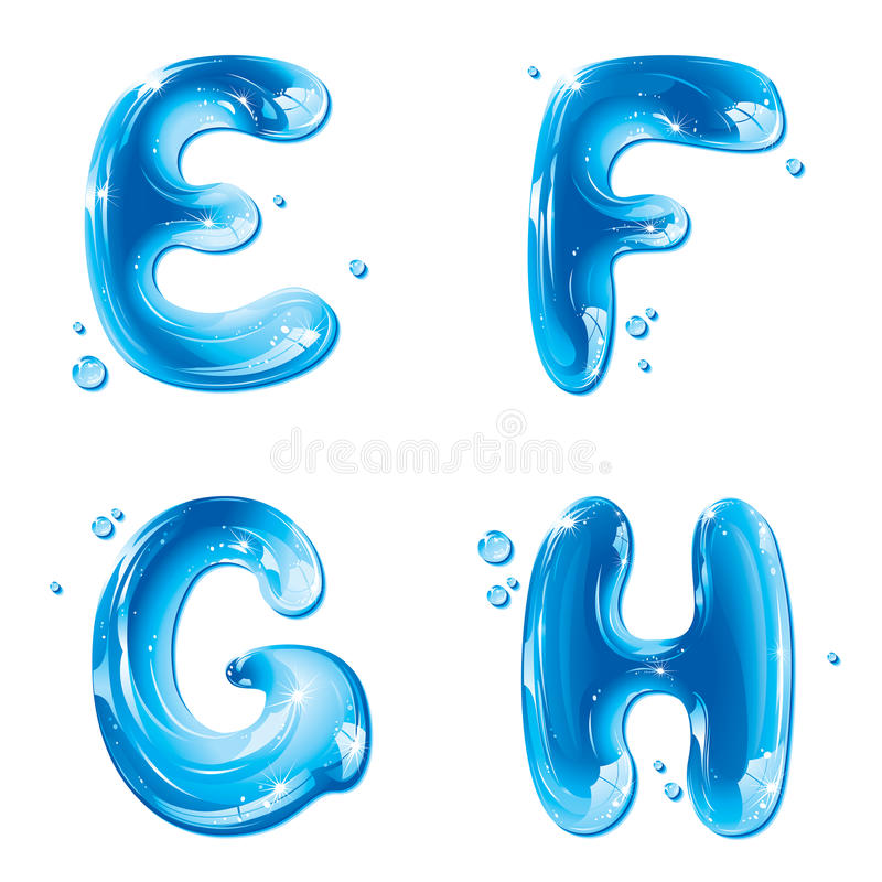ABC - Lettera liquida dell'acqua impostata - G E-F capitale H royalty illustrazione gratis