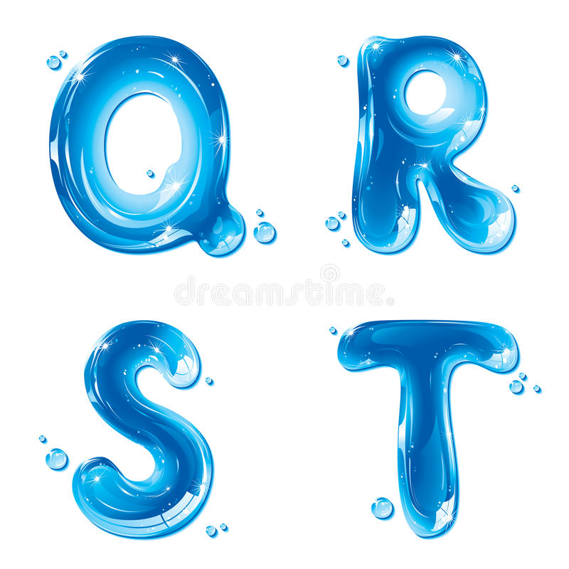 ABC - Lettera liquida dell'acqua impostata - Q capitale R S T illustrazione di stock