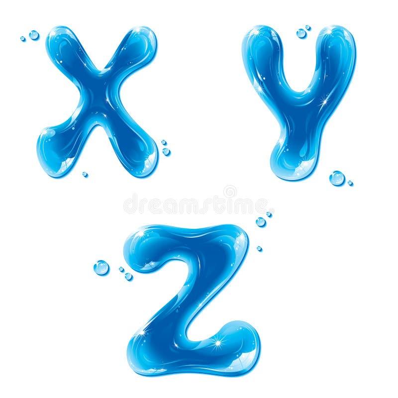 ABC - Lettera liquida dell'acqua impostata - Z DI X-Y capitale illustrazione di stock