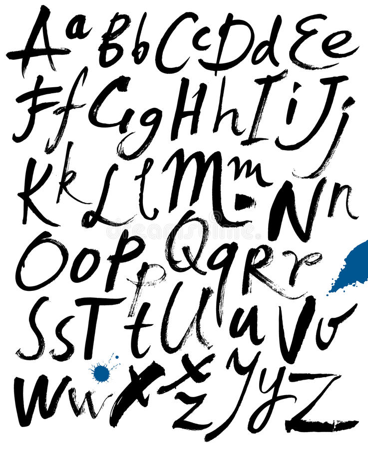ABC. Letters of the alphabet written with a brush. Hand drawn letters. Letters of the alphabet written with a brush. Spots and blotches. Vector vector illustration