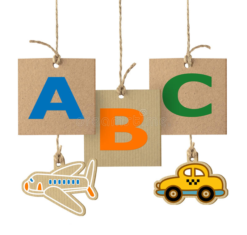 ABC letters on cardboard label. Alphabet logo isolated stock photo