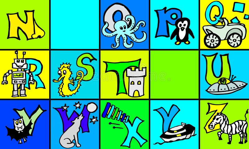 Abc letters with pictures in german and english part 2 first version vector illustration
