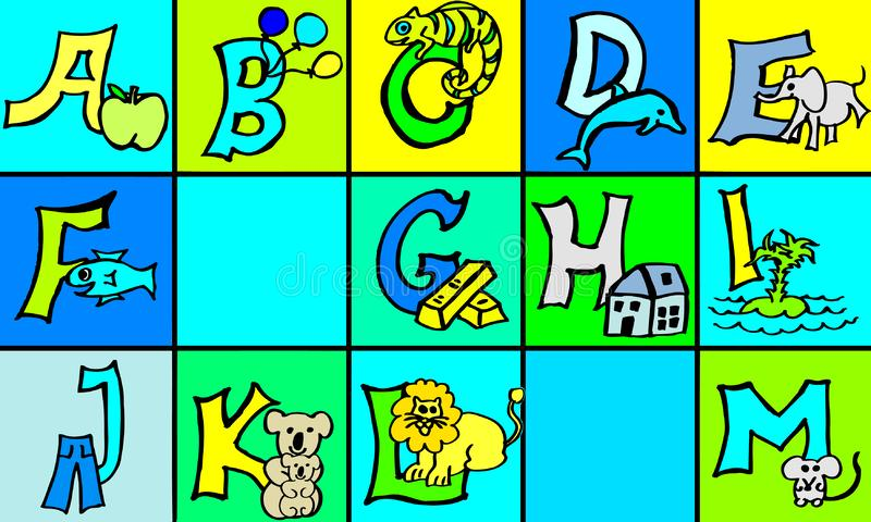 Abc letters with pictures in german and english part 1 first version. Abc letters with pictures in german and english part 1 in green turquoise and yellow colors stock illustration