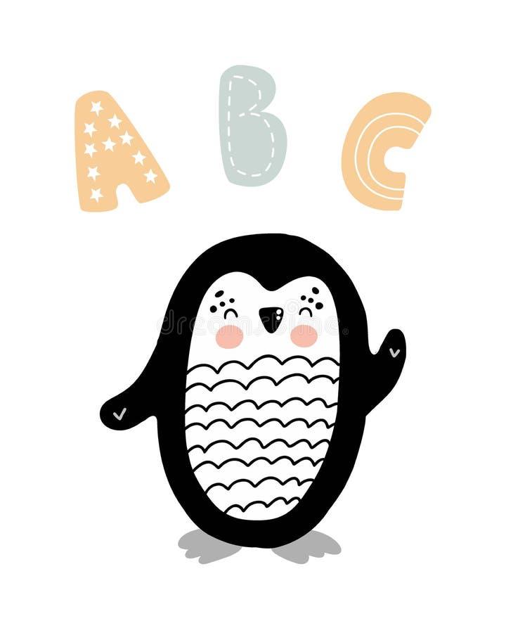 ABC - Mão bonito cartaz tirado do berçário com o pinguim e rotulação animais do personagem de banda desenhada no estilo escandina ilustração stock