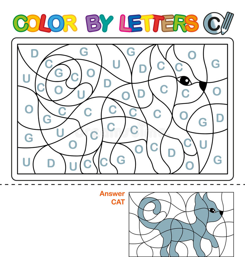 ABC-Malbuch für Kinder Farbe durch Buchstaben Lernen der Großbuchstaben des Alphabetes Puzzlespiel für Kinder Buchstabe C Katze lizenzfreie abbildung