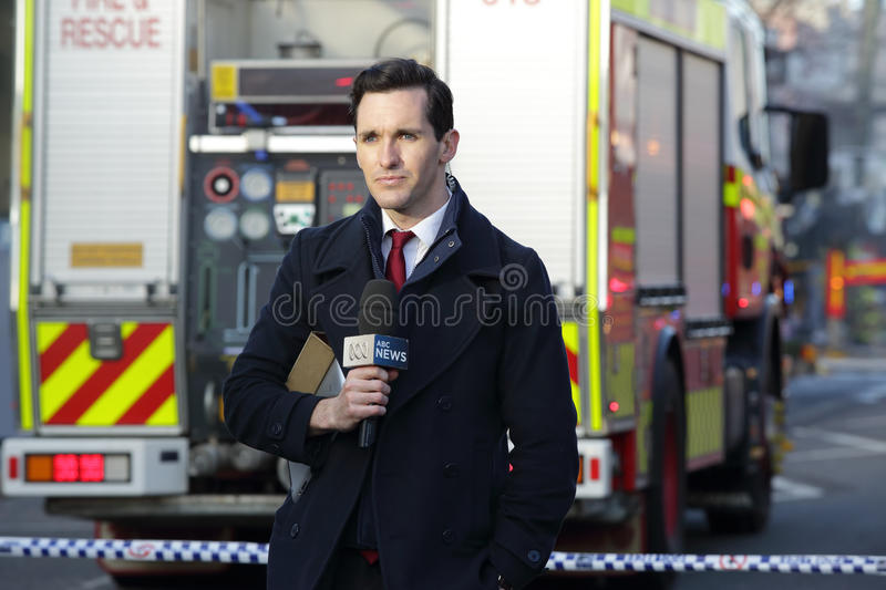 ABC News Reporter covering the tragic incident Rozelle royalty free stock photography