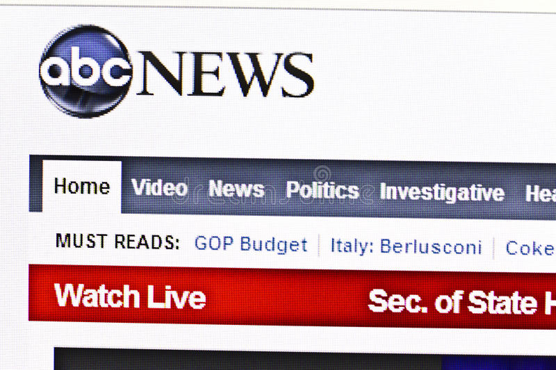 Abc NEWS website. Displayed on computer screen royalty free stock photo