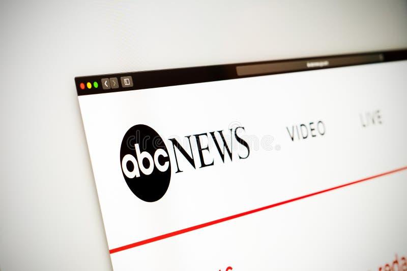 ABC News-Websitehomepage Schließen Sie oben vom ABC News-Kanallogo lizenzfreies stockbild