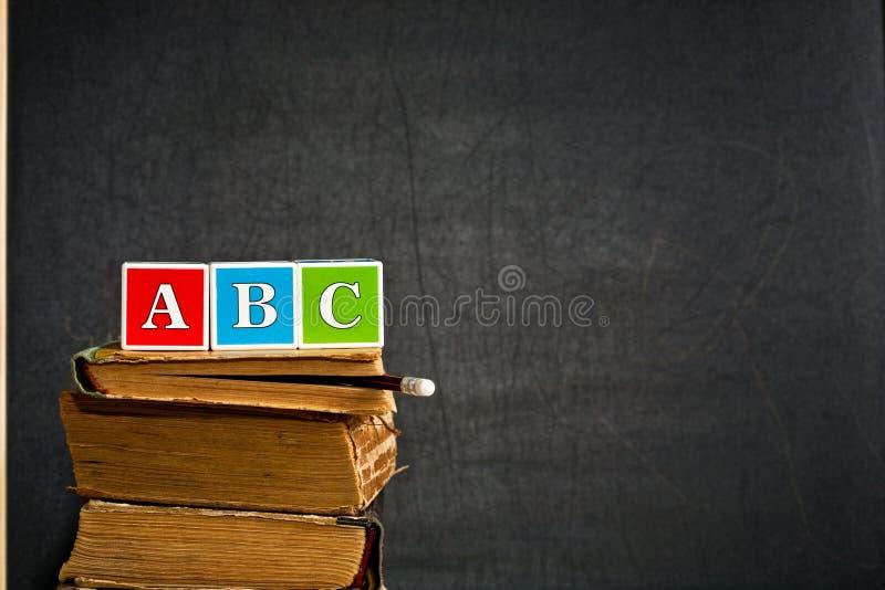 ABC no livro de texto velho fotografia de stock royalty free