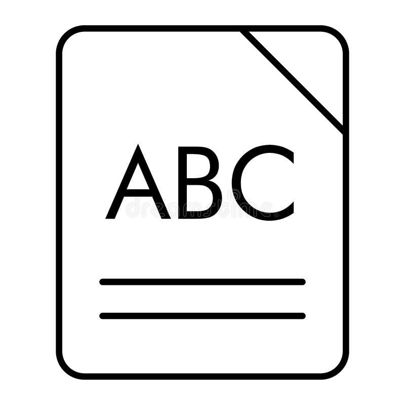 ABC-pictogram van de boek het dunne lijn Alfabet vectordieillustratie op wit wordt geïsoleerd Het ontwerp van de het overzichtsst vector illustratie