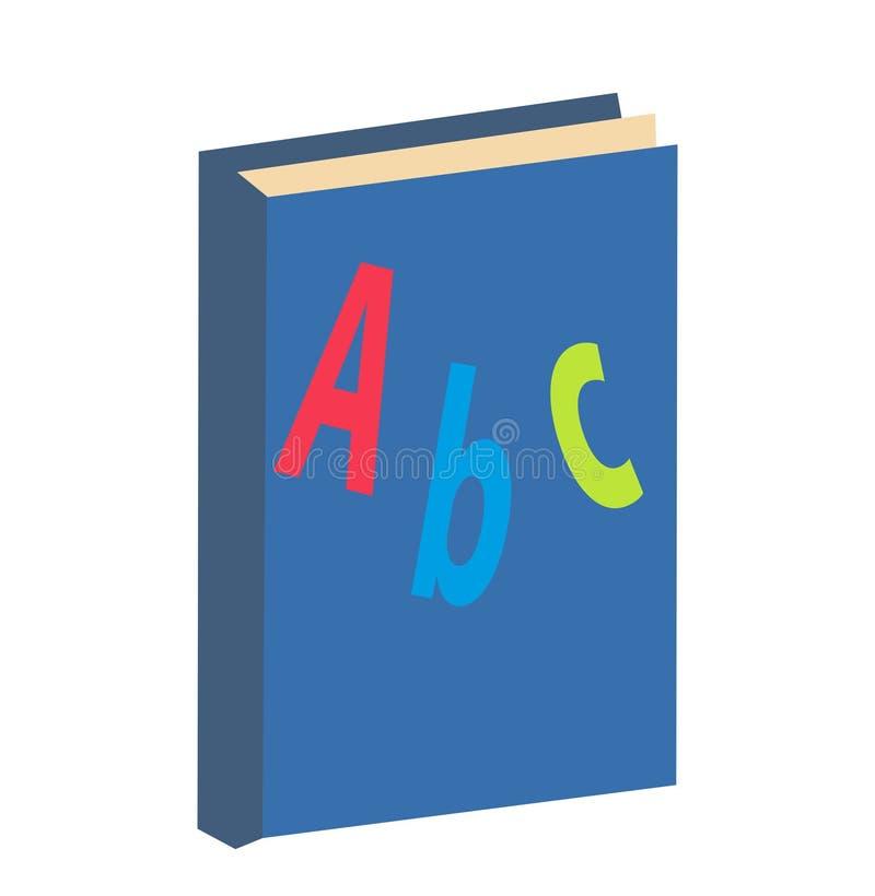ABC reserva el icono, plano, estilo de la historieta Aislado en el fondo blanco Ilustración del vector ilustración del vector