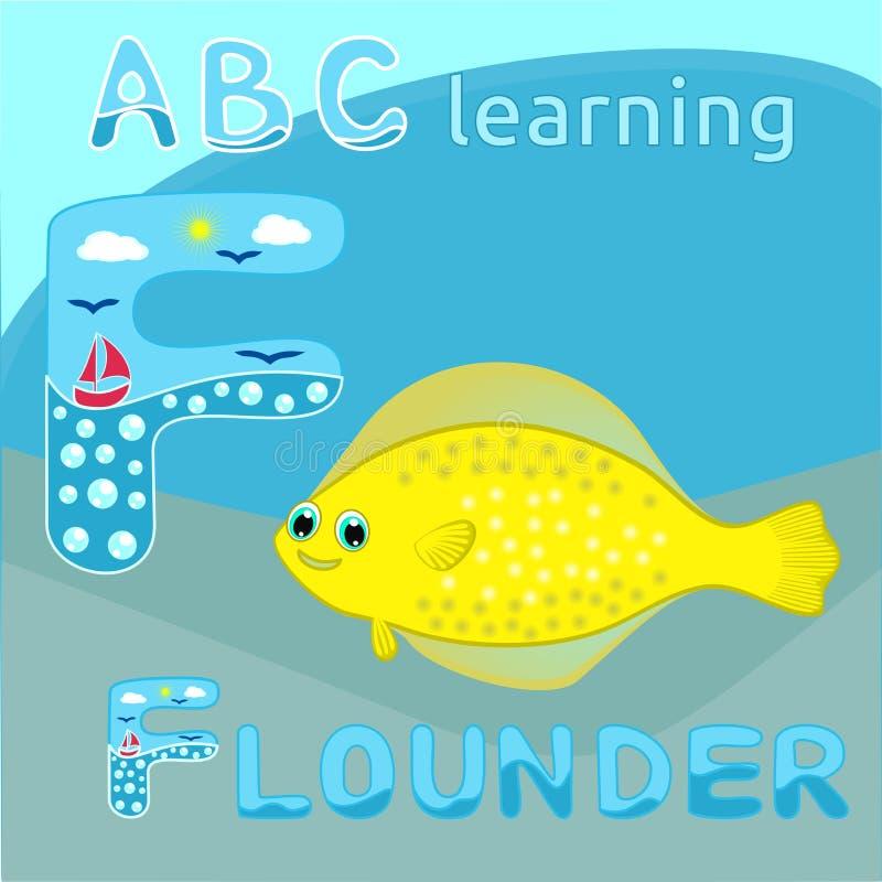 ABC scherzt f-Buchstaben ABC, das Fisch-Zeichentrickfilm-Figur Karikatur f lustigen Tierschollenfische Gelbs des alphabetes glück lizenzfreie abbildung