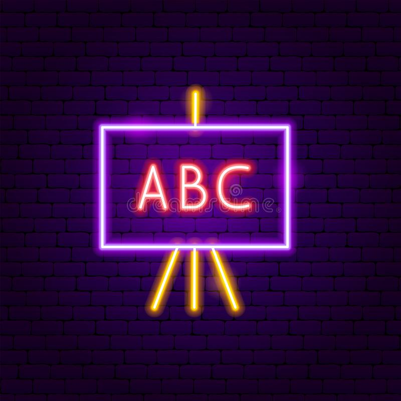 ABC School Board Neon Label royalty free illustration