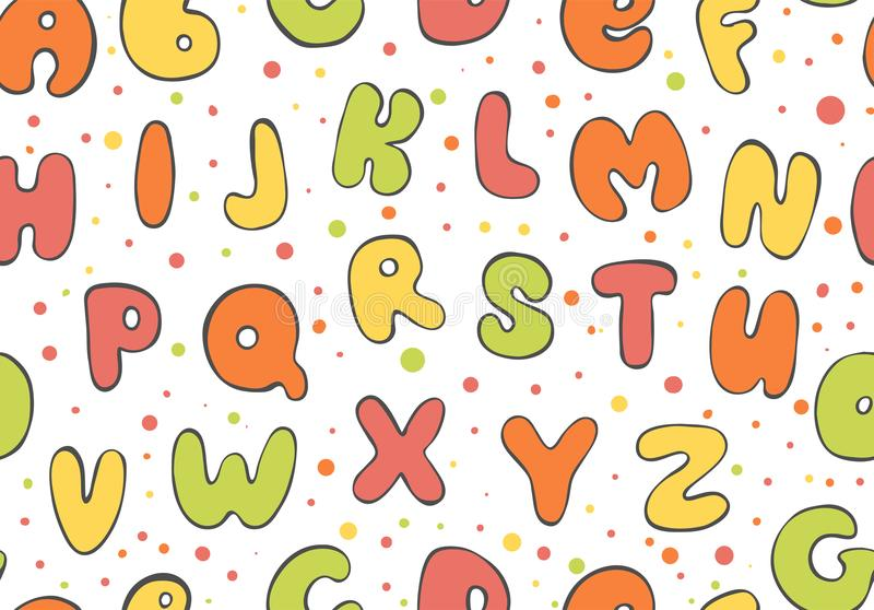 Abc seamless pattern. Colorful Letter background. Cartoon kids font for printing. stock illustration