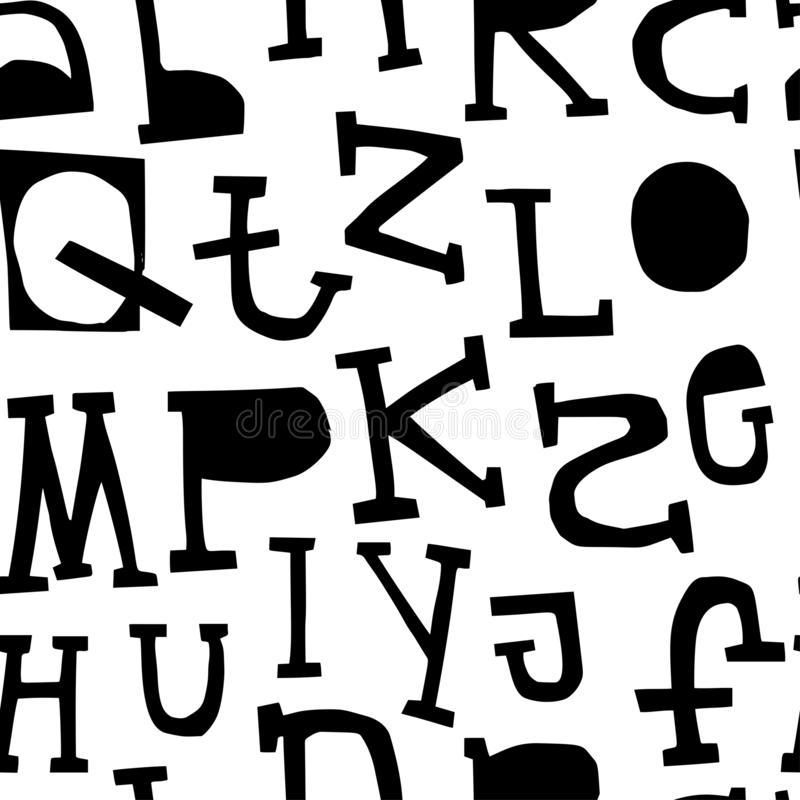 ABC seamless pattern with latin alphabet letters in monochrome scandinavian style. Vector illustration royalty free illustration