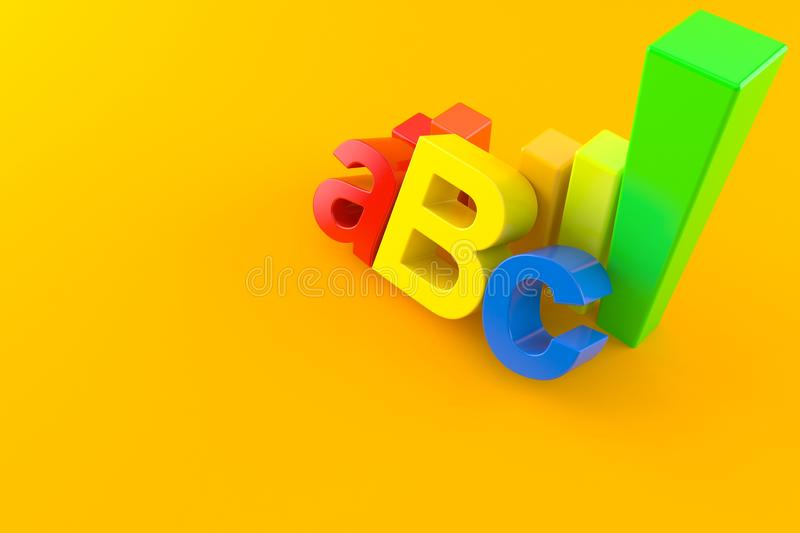 ABC text with chart stock illustration