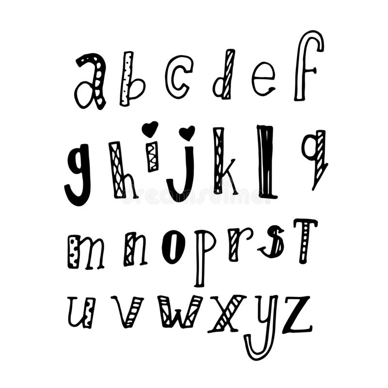 Abc text sign print fashion callirpaphy lettering , alphabet hand written brush custom unique drawing . doodle concept black isola. Ted on white royalty free illustration