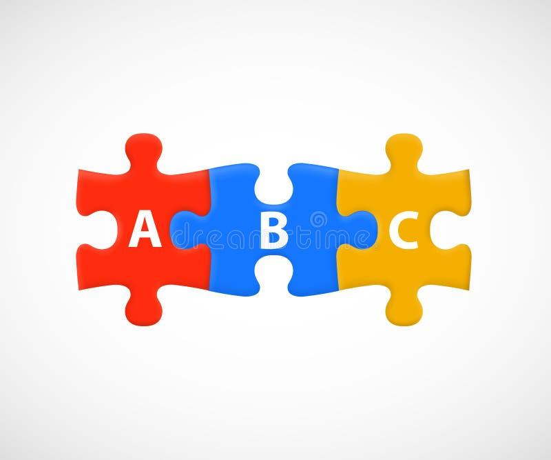 ABC verwirren Stücke Geschäfts- oder Bildungsschritte stock abbildung
