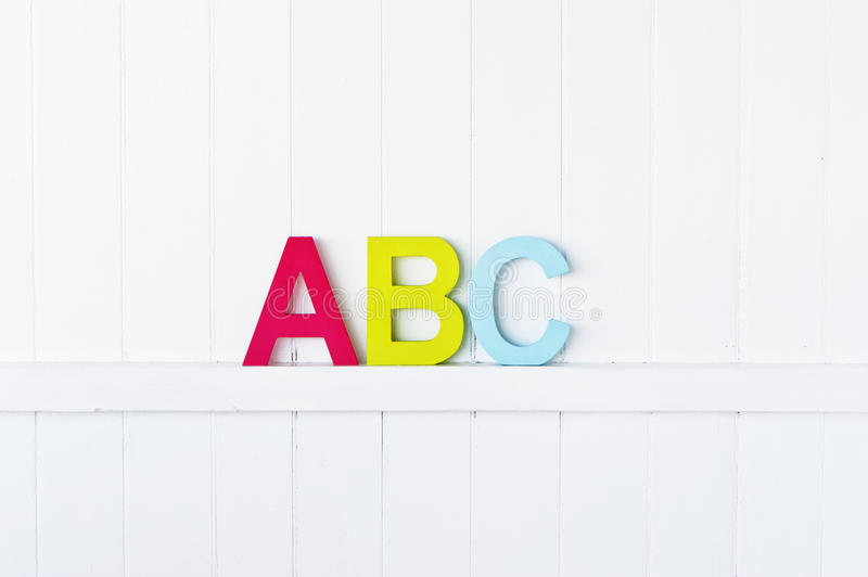ABC on the wall. Large painted ABC letters on a wall stock photo