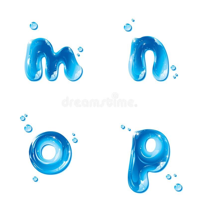 ABC - Wasser-Flüssigkeit stellte - kleinen Buchstaben m N O P ein vektor abbildung