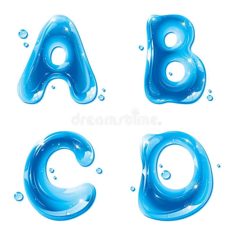 Free ABC - Water Liquid Letter Set - Capital A B C D Stock Photo - 22359280
