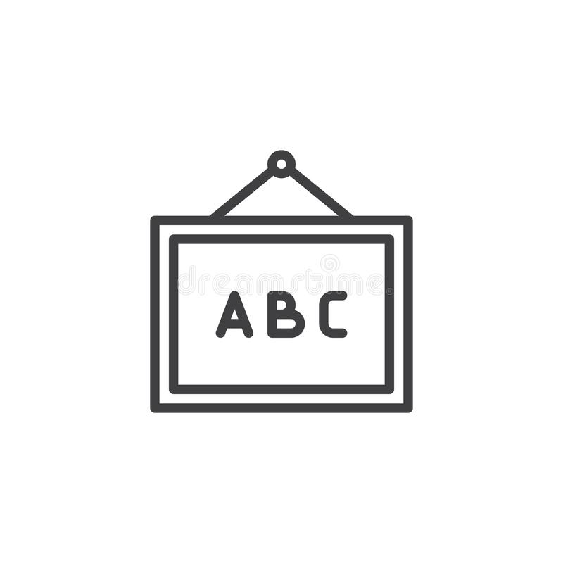 Abc whiteboard schetst pictogram royalty-vrije illustratie