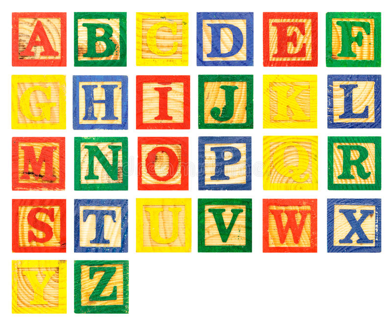 ABC Wooden alphabet block paint colorful. Isolate on white background stock images