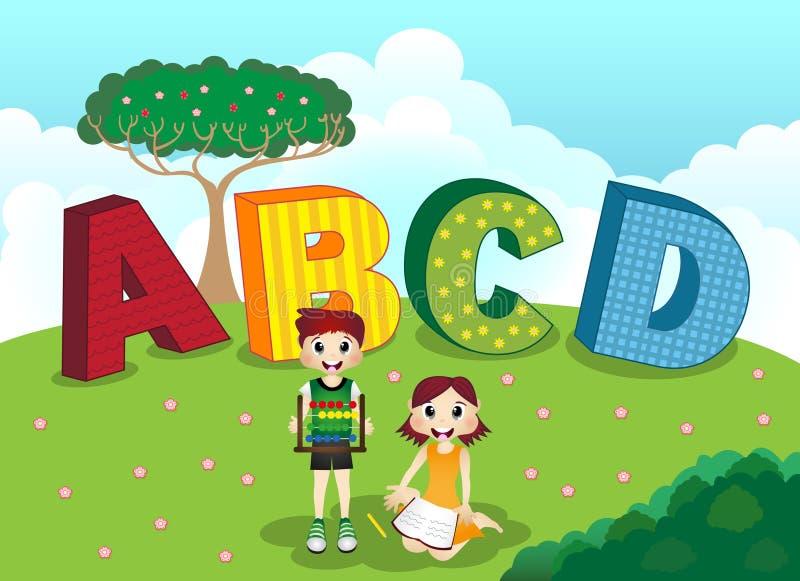 ABCD-alfabet och barn royaltyfri illustrationer