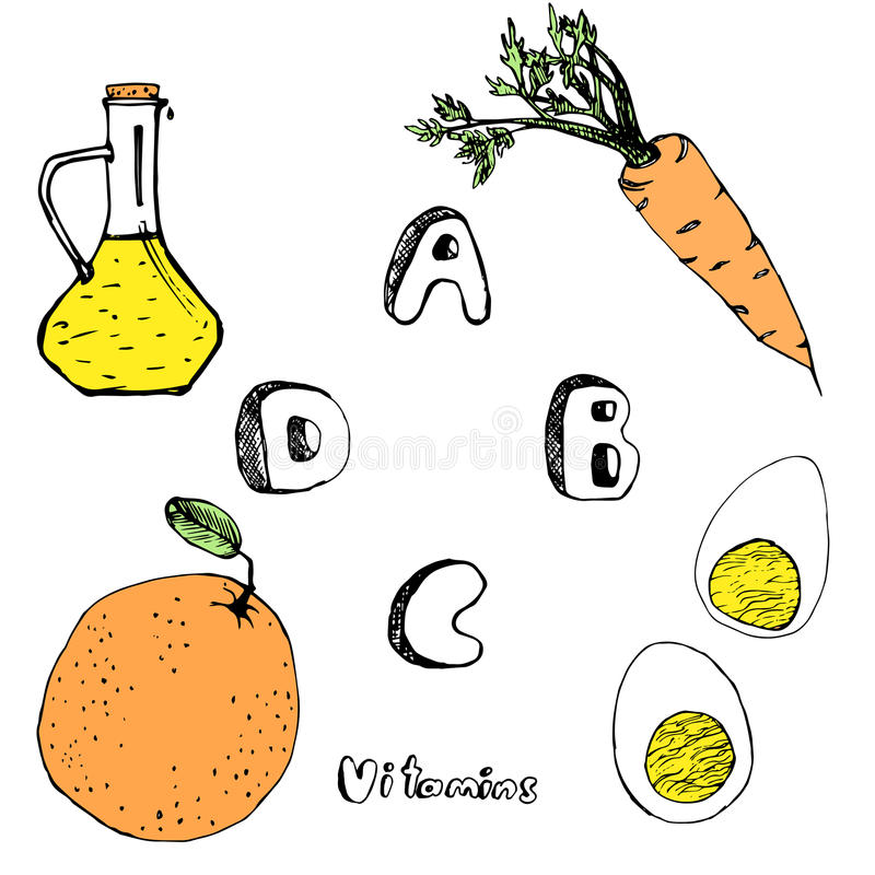 ABCD vitamins from foods. Vector pic A B C D vitamins from foods vector illustration