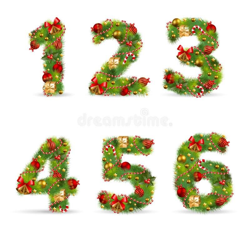 abcdef圣诞节字体结构树 向量例证