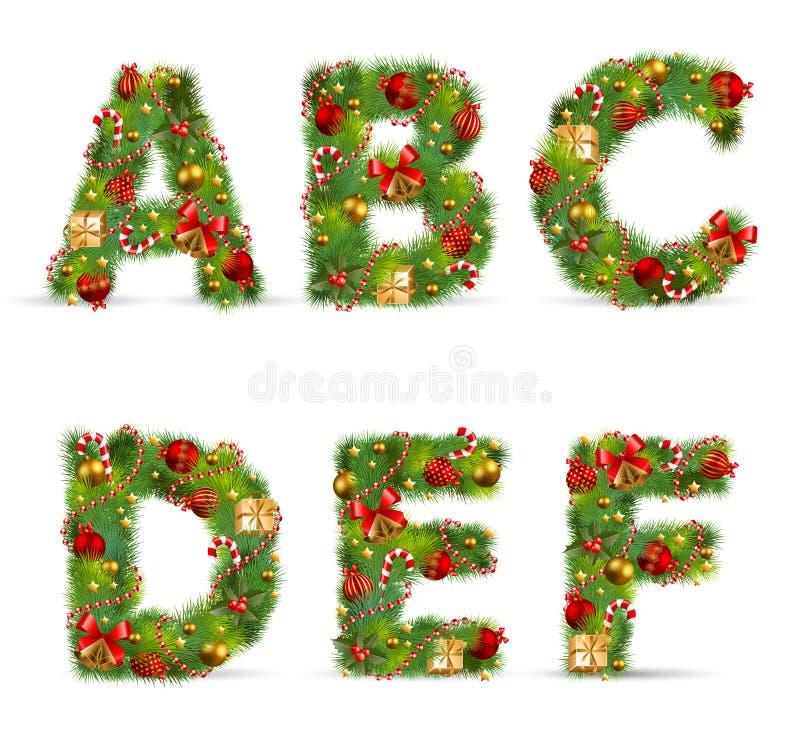 ABCDEF, fonte d'arbre de Noël illustration de vecteur