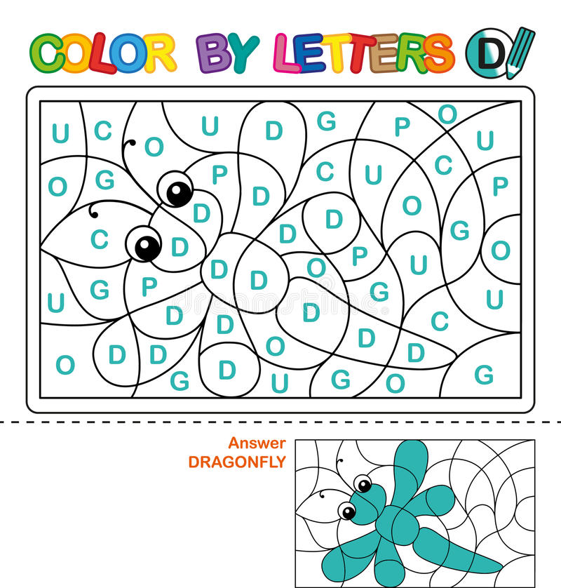 abcfärgläggningbok för barn Färg vid bokstäver Lära versalarna av alfabetet Pussel för barn Märka D Dra royaltyfri illustrationer