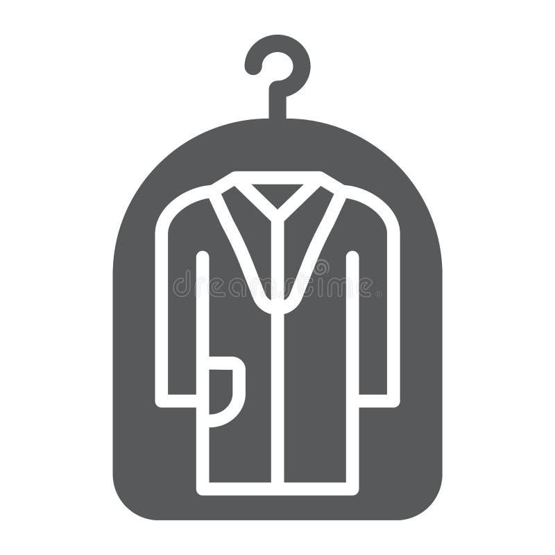 Abdeckung für feste Ikone der Kleidung, Wäscherei und Schutz, Trockenreinigungszeichen, Vektorgrafik, ein festes Muster lizenzfreie abbildung