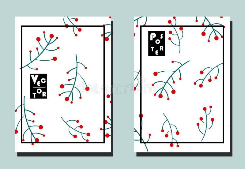 Abdeckung mit Zweigen mit roten Beeren auf weißem Hintergrund Zwei Blumenvektorschablonen von Fliegern stock abbildung