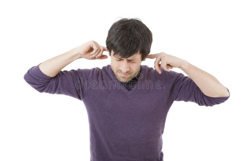 Abdeckung seiner Ohren lizenzfreies stockbild