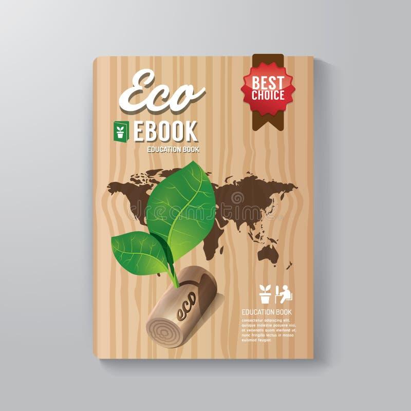 Abdeckungs-Buch-Digital-Design-Schablone Eco-Konzept lizenzfreie abbildung