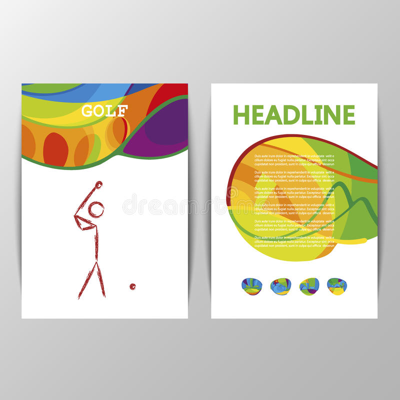 Abdeckungs-Designvektor Golfsport-Ikonenzeichen vektor abbildung
