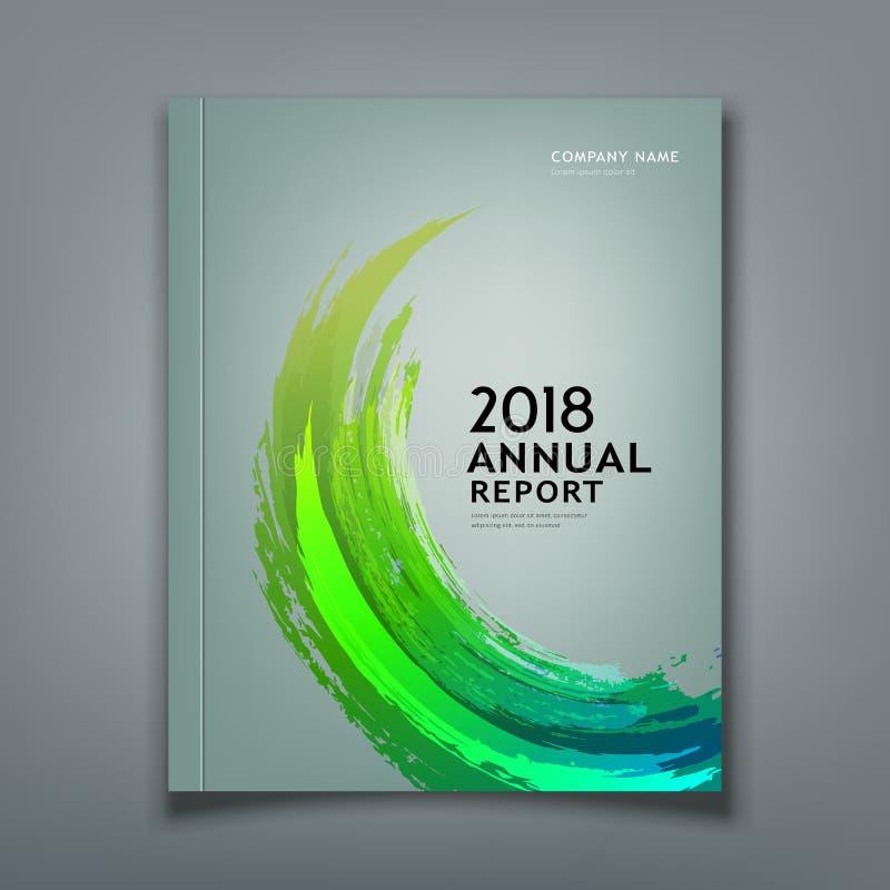 Abdeckungs-Jahresberichtpinselgrün-Designhintergrund vektor abbildung