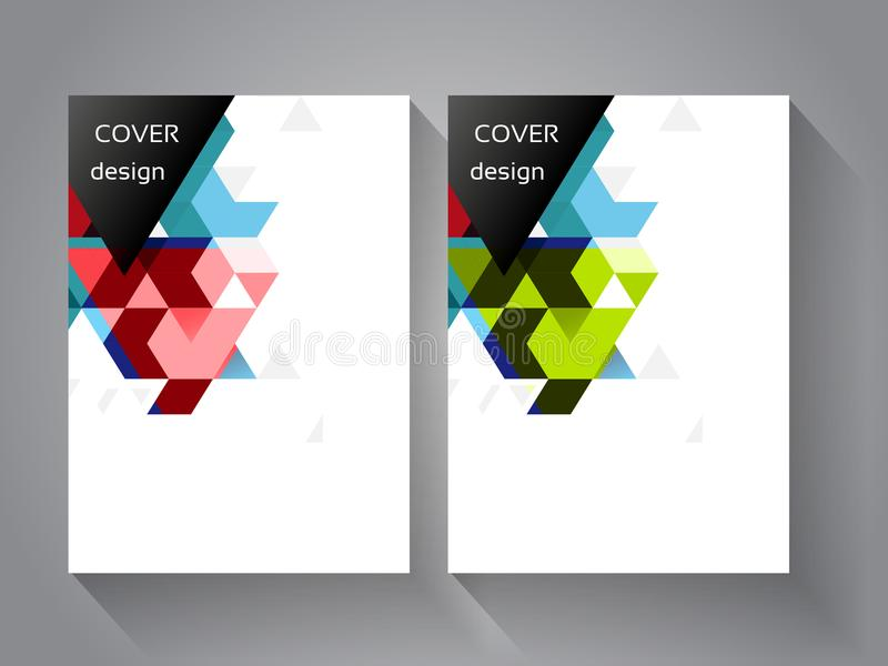 Abdeckungs- und Broschürenschablone mit Farbdreieckhintergrund Geometriegeschäftskonzept für Plan, Broschüre, Flieger, Jahresberi vektor abbildung
