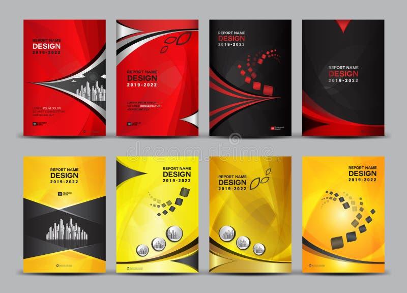 Abdeckungsdesign-Schablonensatz, Jahresbericht, Buch, Broschüre, Geschäftsvektor, Broschürenschablone, Zeitschriftenanzeigen lizenzfreie abbildung