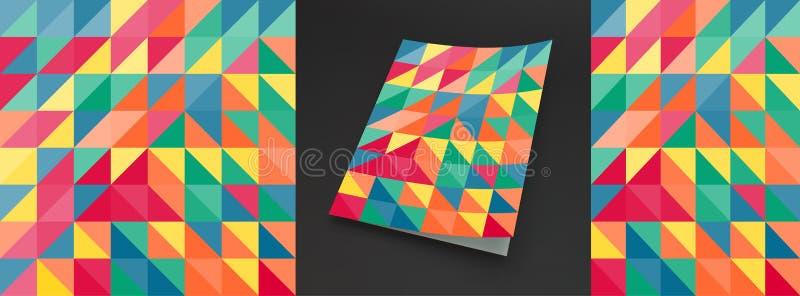 Abdeckungsdesignschablone f?r die Werbung Abstraktes buntes geometrisches Design Muster kann als Schablone f?r Brosch?re benutzt  stock abbildung