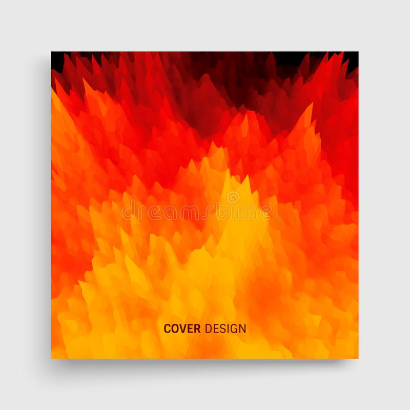 Abdeckungsdesignschablone Flammenfeuerhintergrund für Design und Darstellung Auch im corel abgehobenen Betrag stock abbildung